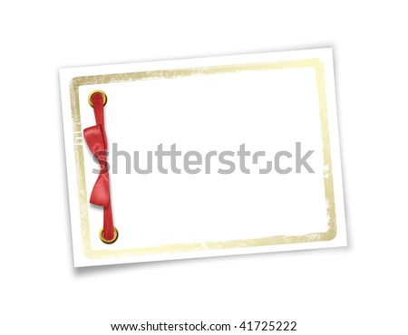 Card for invitation or congratulation to holiday. White isolated background.
