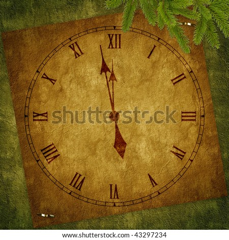 Card for the holiday with clock on the abstract background