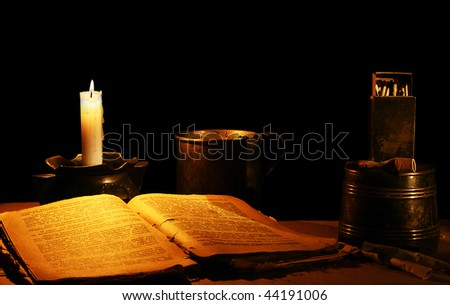 Card from the past: reading at a candle