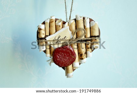 card in the shape of a heart symbol of love in the art scrapbooking - Shutterstock ID 191749886