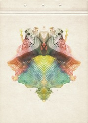 Card of a multicolor Rorschach Inkblot Test. Abstraction watercolor vertical background. Colorful symmetric blotch. Watercolor painting on old paper. Vintage style.