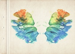 Card of a multicolor Rorschach Inkblot test. Watercolor picture. Abstract background. Colorful image. Blue, orange, yellow and green paint. Watercolor painting on old paper. Vintage style.