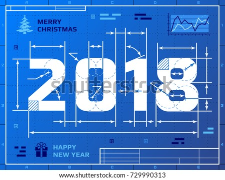 Card of New Year 2018 as blueprint drawing. Stylized drafting of 2018 on blueprint paper. Best illustration for new years day, christmas, winter holiday, new years eve, engineering, silvester, etc