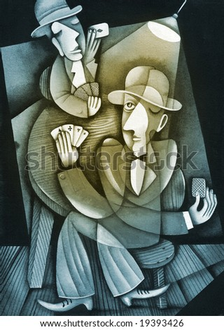 Card players. Illustration by Eugene Ivanov.