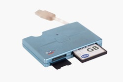 Card reader with CF and SD card, isolated on white background