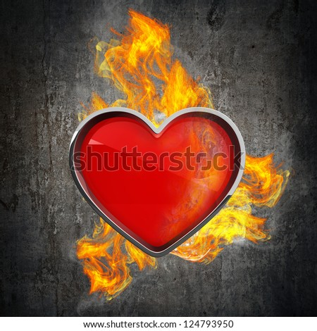 card sign with flame. High resolution 3d render - stock photo
