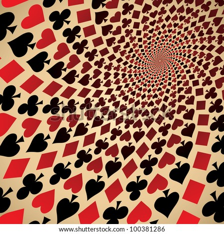 Card suit. Hearts, diamonds, spades and clubs. Playing cards. Op art. - stock photo
