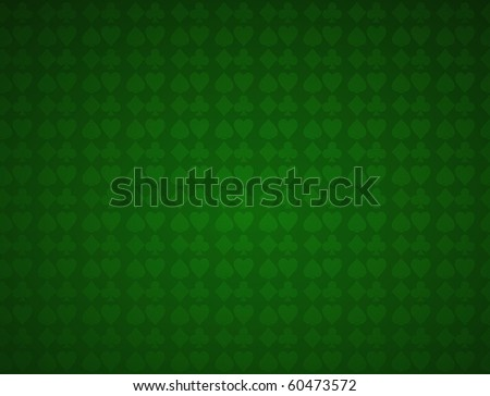 Card suits and poker table. Green textured background