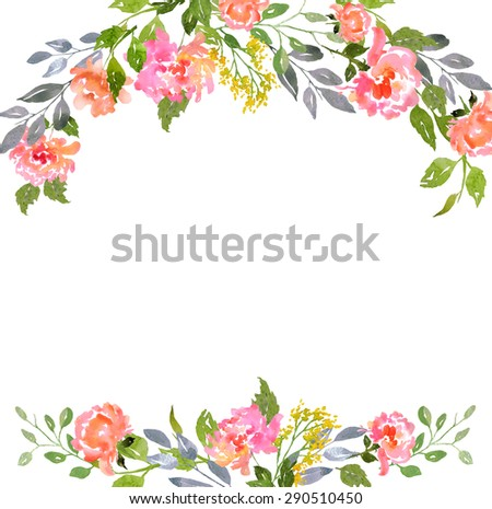 Card template with watercolor peonies. Blank space for your text. Illustration for greeting cards, invitations, and other printing projects.