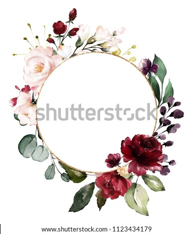 Card. Watercolor invitation design with burgundy and red roses, leaves. flower, background with floral elements , botanic watercolor illustration. Vintage Template. wreath, round frame  Foto stock ©