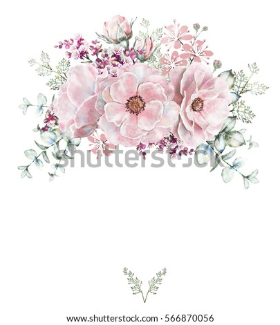 Card Watercolor Wedding Invitation Design With Roses And Leaves