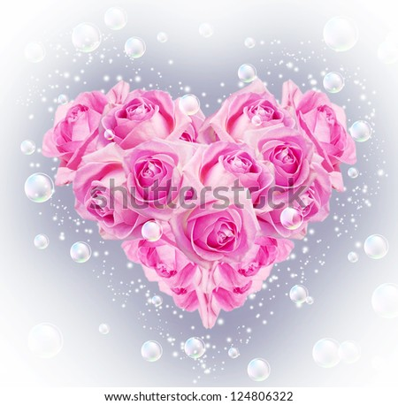 Card with bouquet roses in heart shape and bubbles