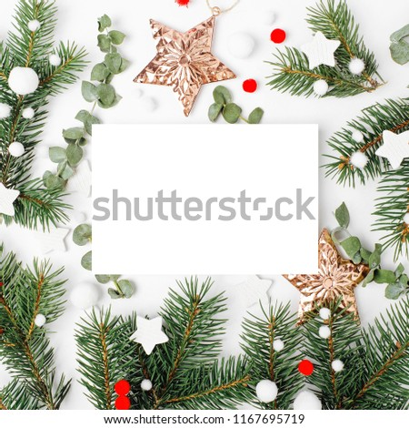 Card with Christmas decoration. Holiday mockup. Flat lay, top view #1167695719