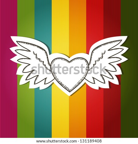 Card with colorful background and scrap flying heart