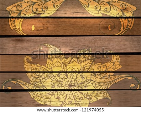 Card with flower over wood background for your design