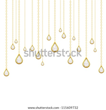 Card with golden drops with brilliants on a white background.