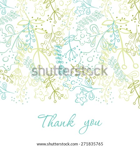Card with hand drawn doodle flowers . Hand drawn design for Thank you card, Greeting card or Invitation.