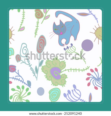 Card with  ornament of pale floral motif and cat  on a white  background. Hand drawn.