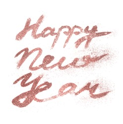 Card with text Happy New Year of pink gold glitter on white background.