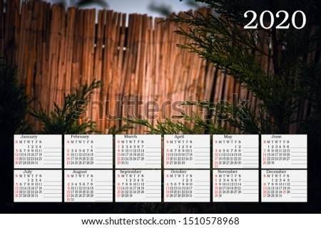 card with the calendar for 2020 on the background of a beautiful picture