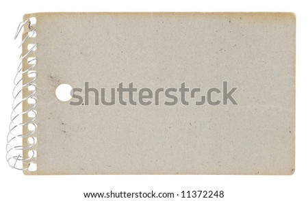 Cardboard back of an old grungy notepad with clipping path around all elements. #11372248