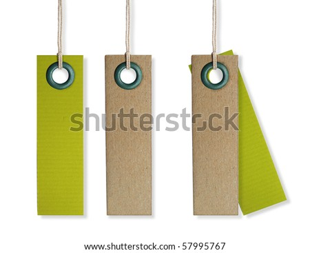 cardboard blank clothing labels on a white background