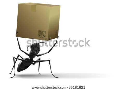 cardboard box black ant order delivery shipping package tracking white background isolated