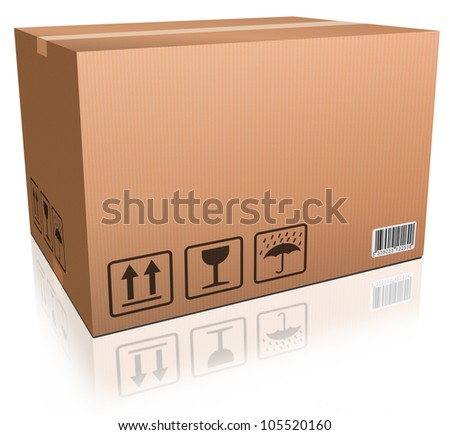 Cardboard box blank and isolated package delivery for online shopping order moving box  for transportation and freight logistics