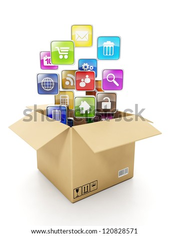 Cardboard box Box and mobile cloud icons Create mobile OFFER for electronics