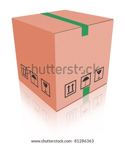 cardboard box carton container with reflection isolated on white