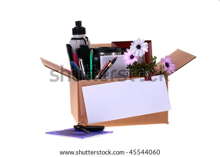 Cardboard box collected in connection with dismissal, to a box the envelope with the check is pinned.