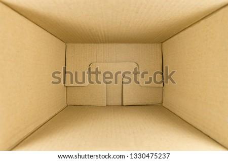 cardboard box for parcels inside, look inside, mock up, copyspace #1330475237