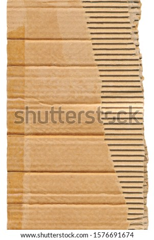 Cardboard box has torned half with scotch tape marks on isolated white background. #1576691674