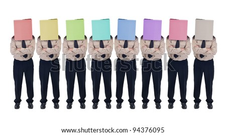 Cardboard box head businessman or politician in row - illusion of choice concept, isolated