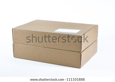 cardboard box isolated and label note on a box.