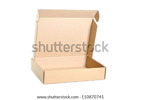 cardboard box isolated open on white background.