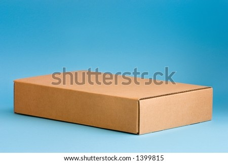 Cardboard box on blue background