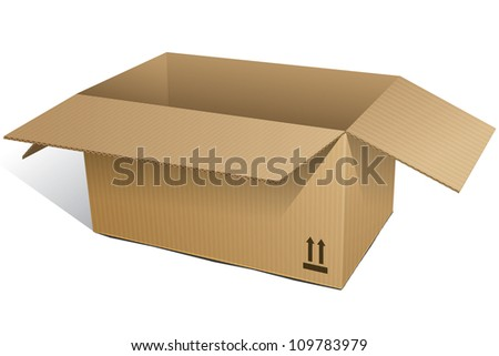 Cardboard Box opened. Isolated on white background. - stock photo