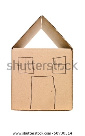 Cardboard Box painted as a house