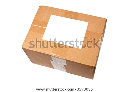 Cardboard box with blank label isolated on white background