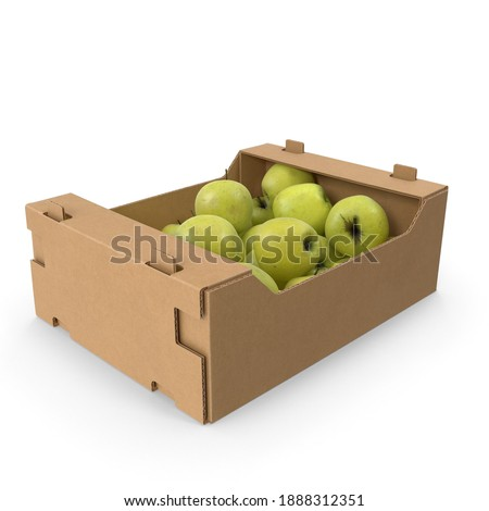 Cardboard Box With Golden Delicious Apple Spilled and full isolated in white texture background 3d rendering 3d illustration Foto stock ©