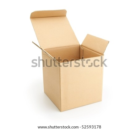 Cardboard box with lid open, isolated on white.