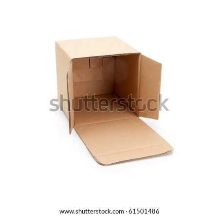 Cardboard box with open lid , isolated on white.