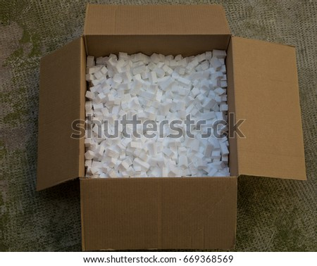 White styrofoam packing peanuts as a background  Packaging foam