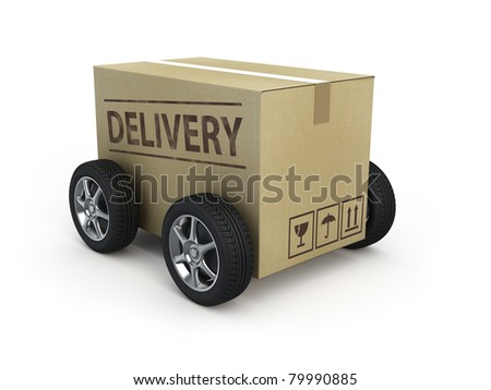 Cardboard box with wheels - Delivery concept
