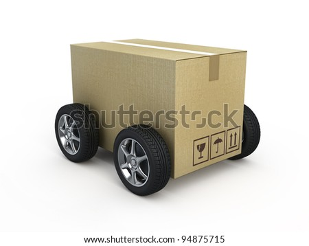 Cardboard box with wheels - shipping concept - stock photo