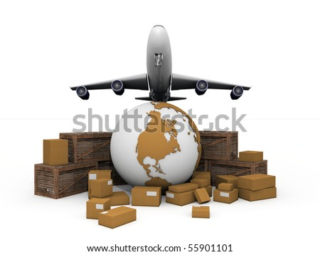 cardboard boxes and crates around a globe with extruded continents