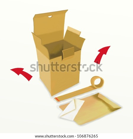 Cardboard boxes and Packing items with movement arrows