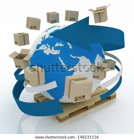 Cardboard boxes around globe on a pallet. Worldwide shipping concept. 3d illustration on white background.