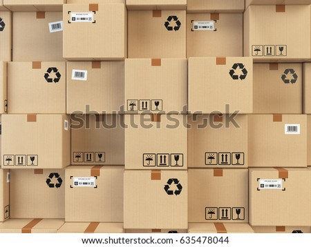 Cardboard boxes backgound. Delivery, cargo, logistic and transportation warehouse storage  concept. 3d illustration.